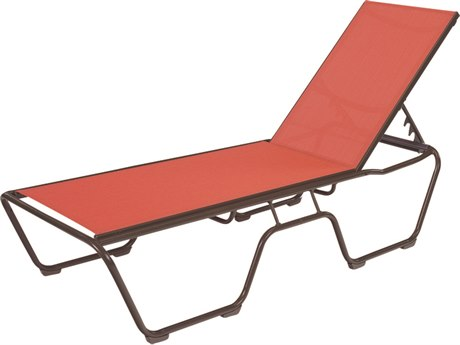 Windward Design Group Country Club Sling Aluminum Chaise Lounge in Nylon Skids