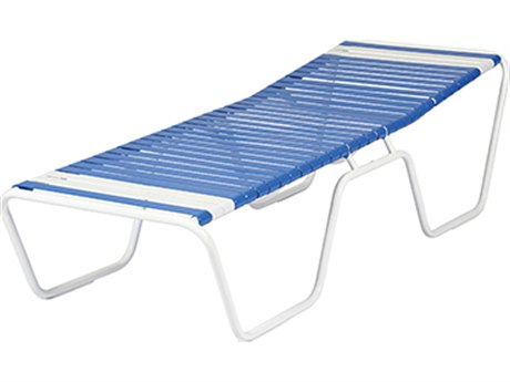 Windward Design Group Country Club Strap Aluminum Armless Sun Cot Chaise Lounge PatioLiving