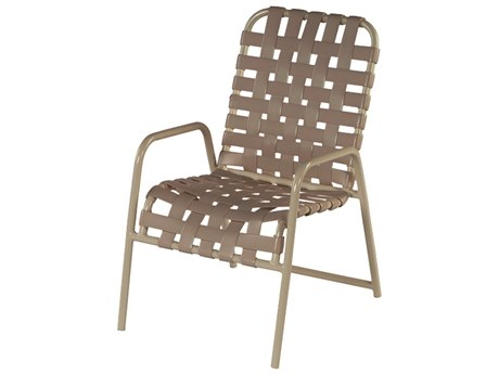 Windward Design Group Country Club Strap Aluminum Dining Chair Cross Weave