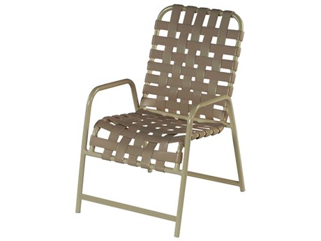 Windward Design Group Country Club Strap Aluminum Dining Arm Chair in Cross Weave