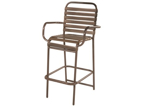 Windward Design Group Country Club Strap Aluminum Bar Chair with Arms