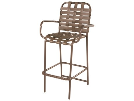 Windward Design Group Country Club Strap Aluminum Bar Chair with Arms Cross Weave