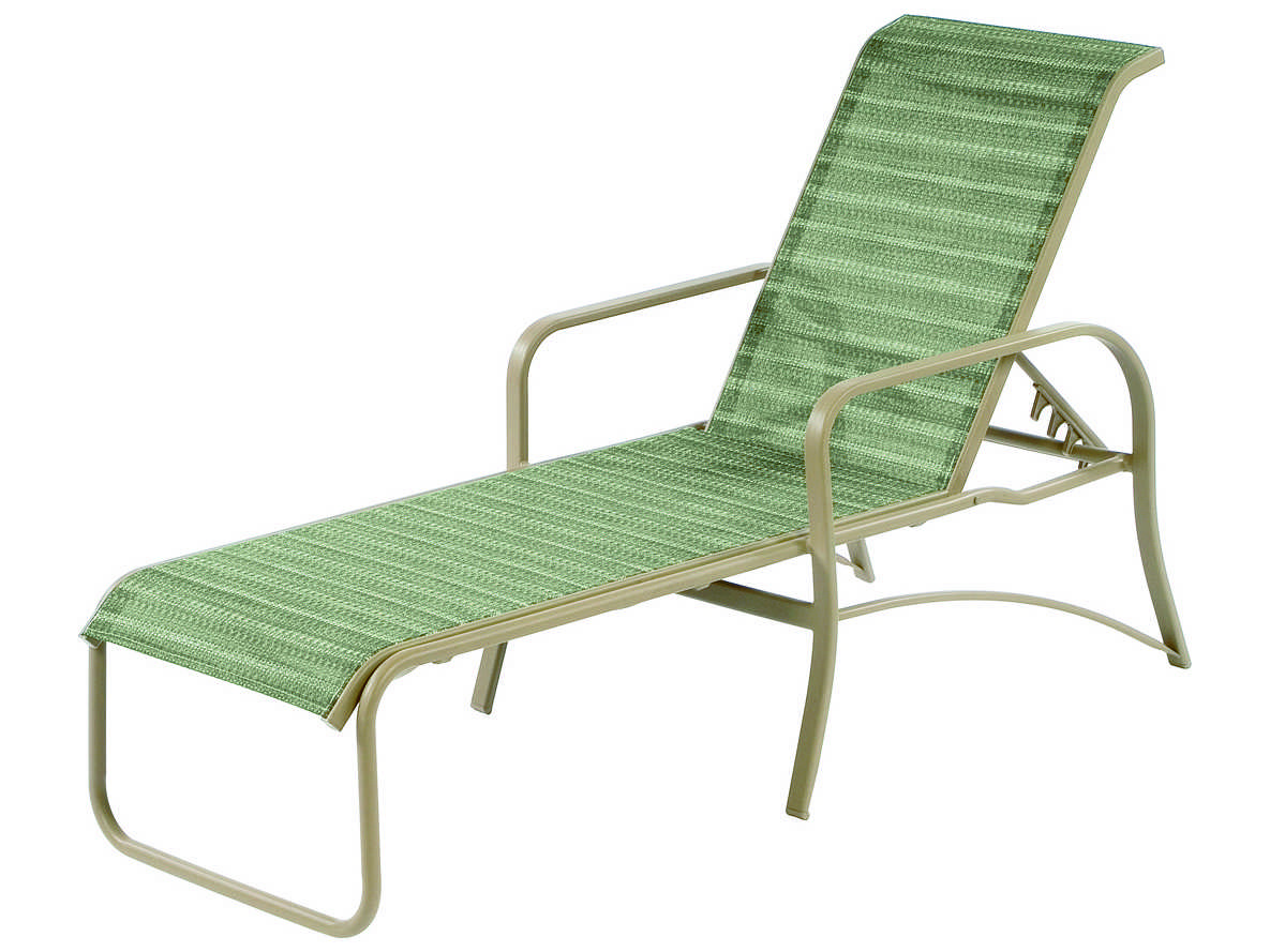 Windward design group island bay sling aluminum chaise for Chaise aluminium