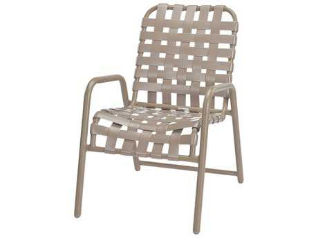 Windward Design Group Neptune Strap Aluminum Dining Chair Cross Weave