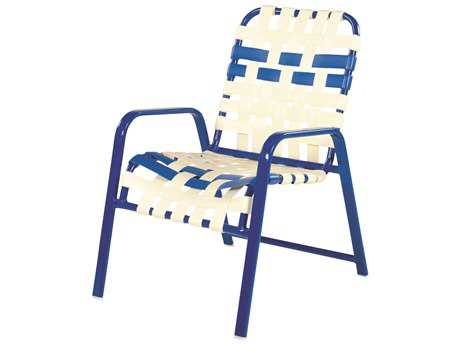 Windward Design Group Regatta Strap Aluminum Dining Arm Chair Crossweave