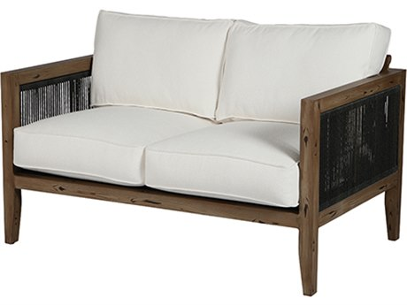 Windward Design Group Belize Deep Seating Caramel Wicker Antique Oak Frame Loveseat