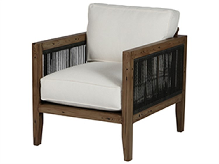 Wicker Antique Oak Frame Lounge Chair