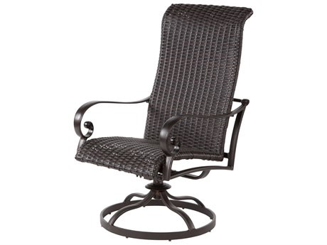 Windward Design Group Versailles Dining Cast Aluminum Wicker Swivel Dining Arm Chair