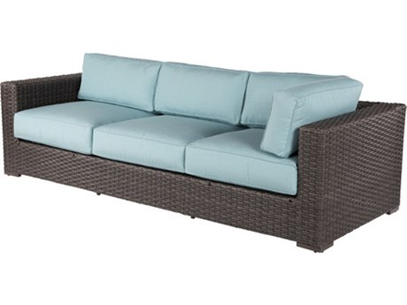 Windward Design Group Georgia Wicker Deep Seating Aluminum Sofa for Sectional