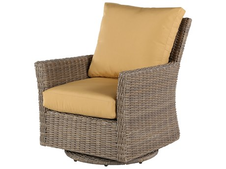 Windward Design Group Oxford Deep Seating Aluminum Wicker Lounge Chair Swivel Glider