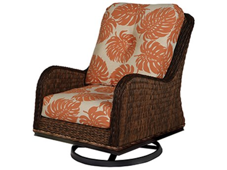 Windward Design Group Havana Deep Seating Caramel Wicker Greco Frame Swivel Glider Lounge Chair