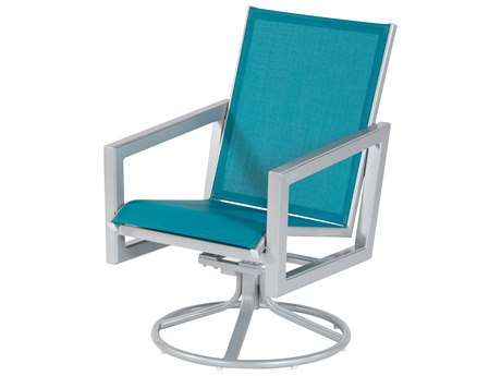 Windward Design Group Madrid Sling Aluminum Swivel Dining Arm Chair