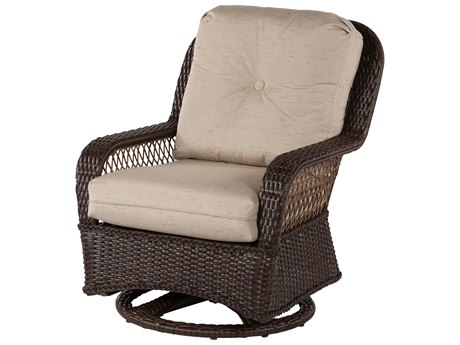 Windward Design Group Hannah Deep Seating Aluminum Wicker Lounge Chair Swivel Glider