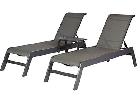 Windward Design Group Malibu Sling Aluminum Double Chaise with Table