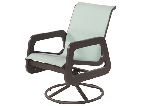 Windward Design Group Malibu Sling Marine Grade Polymer Swivel Dining Arm Chair