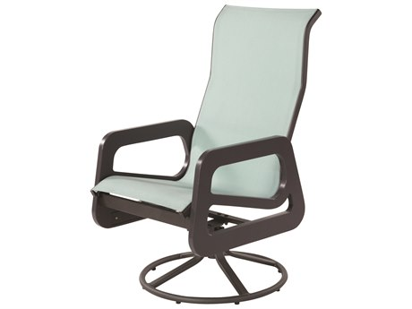 Windward Design Group Malibu Sling Marine Grade Polymer High Swivel Dining Arm Chair
