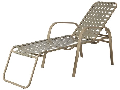 Windward Design Group Anna Maria Strap Aluminum Chaise Lounge 18 Seat Height Cross Weave