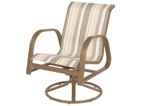 Windward Design Group Anna Maria Sling Aluminum Swivel Rocker Dining Chair