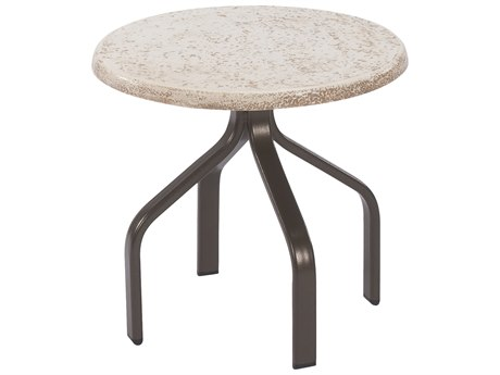 Windward Design Group Faux Stone Top Aluminum 18 Round Side Table