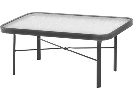 Windward Design Group Glass Top Aluminum 34 x 18 Rectangular Coffee Table