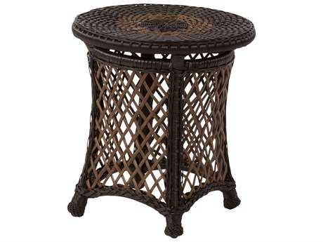 Windward Design Group Hannah Deep Seating Aluminum Wicker 20 Round Glass Top Side Table