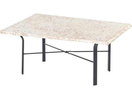 Windward Design Group Faux Stone Top Aluminum 34 x 22 Rectangular Coffee Table