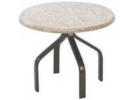 Windward Design Group Faux Stone Top Aluminum 24 Round Side Table