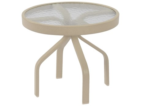 Windward Design Group Glass Top Aluminum 24 Round Side Table