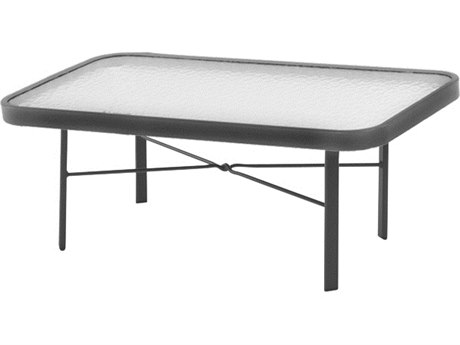 Windward Design Group Glass Top Aluminum 36 x 24 Rectangular Coffee Table