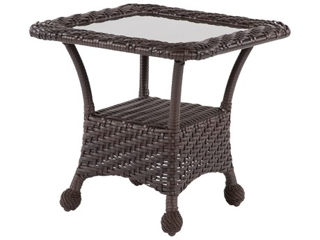 Windward Design Group Carolina Wicker Deep Seating Aluminum 24 Square Patterned Glass Top Side Table