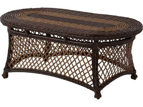 Windward Design Group Hannah Deep Seating Aluminum Wicker 45 x 26 Oval Glass Top Coffee Table