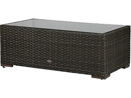 Windward Design Group Georgia Wicker 50''W x 28''D Rectangular Glass Top Coffee Table