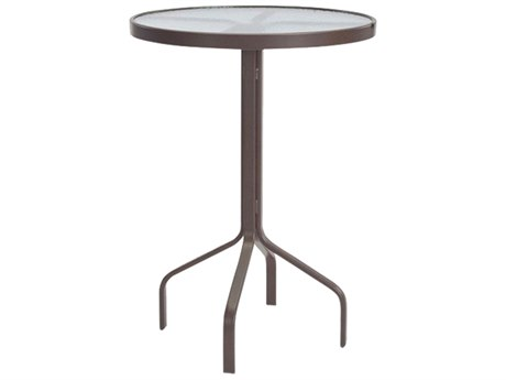 Windward Design Group Glass Top Aluminum 30 Round Bar Table