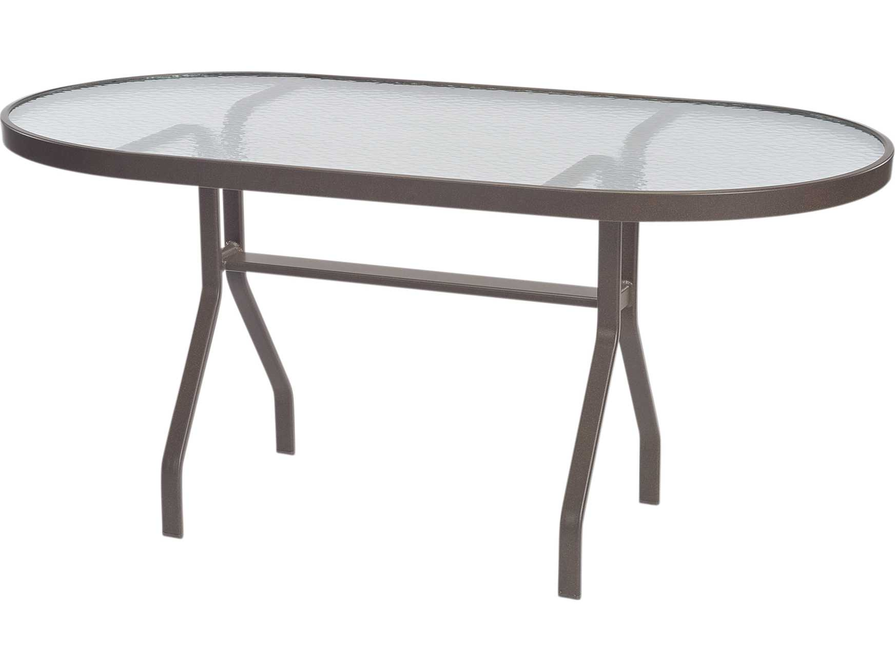 Windward Design Group Glass Top Aluminum 60 x 30 Oval Dining Table