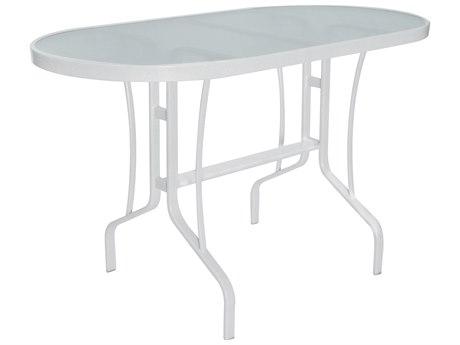 Windward Design Group Glass Top Aluminum 60 x 30 Oval Balcony Table