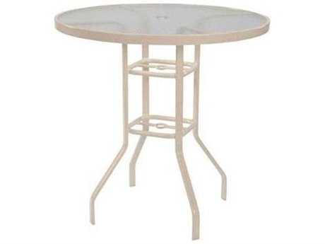Windward Design Group Acrylic Top Aluminum 36 Round Balcony Table with Umbrella Hole