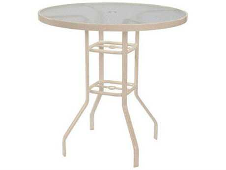 Windward Design Group Acrylic Top Aluminum 36 Round Bar Table with Umbrella Hole