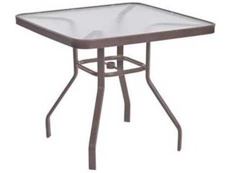 Windward Design Group Acrylic Top Aluminum 36 Square Dining Table with Umbrella Hole