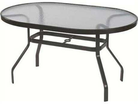 Windward Design Group Acrylic Top Aluminum 54 x 36 Oval Dining Table