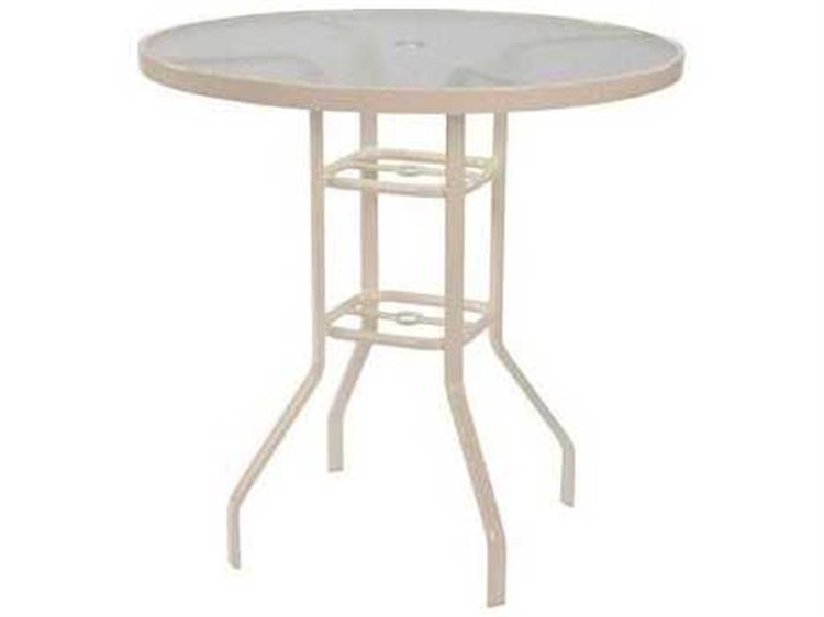 Windward Design Group Acrylic Top Aluminum 42 Round Balcony Table with Umbrella Hole