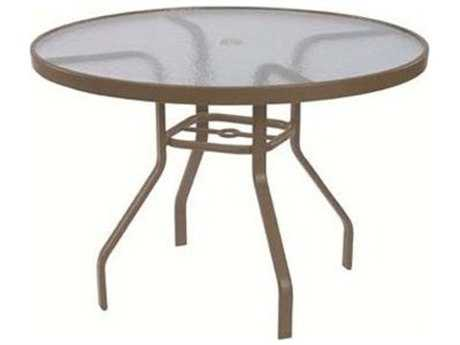 Windward Design Group Acrylic Top Aluminum 42 Round Dining Table with Umbrella Hole