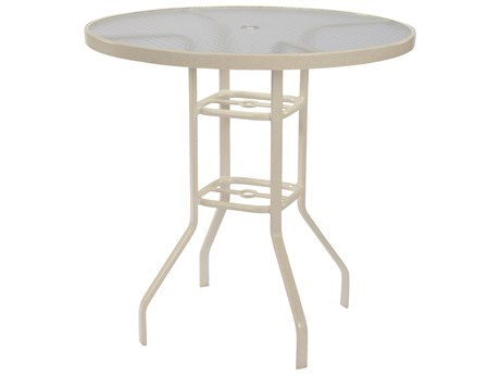 Windward Design Group Acrylic Top Aluminum 42 Round Bar Table with Umbrella Hole