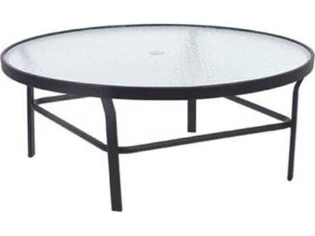 Windward Design Group Glass Top Aluminum 47 Round Table with Umbrella Hole