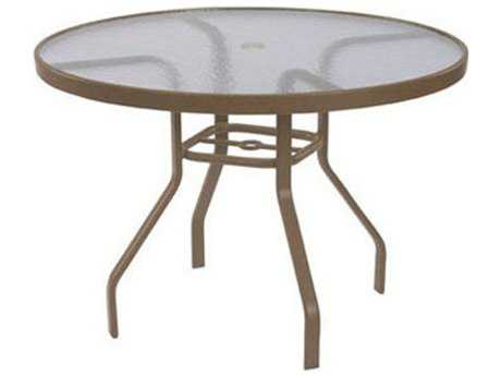 Windward Design Group Acrylic Top Aluminum 48 Round Dining Table with Umbrella Hole