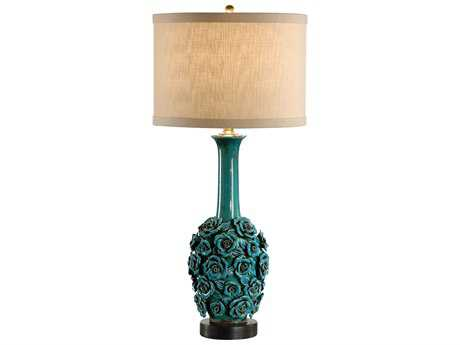 Wildwood Lamps Porcelain Roses Charcoal Base Robust Roses Table Lamp