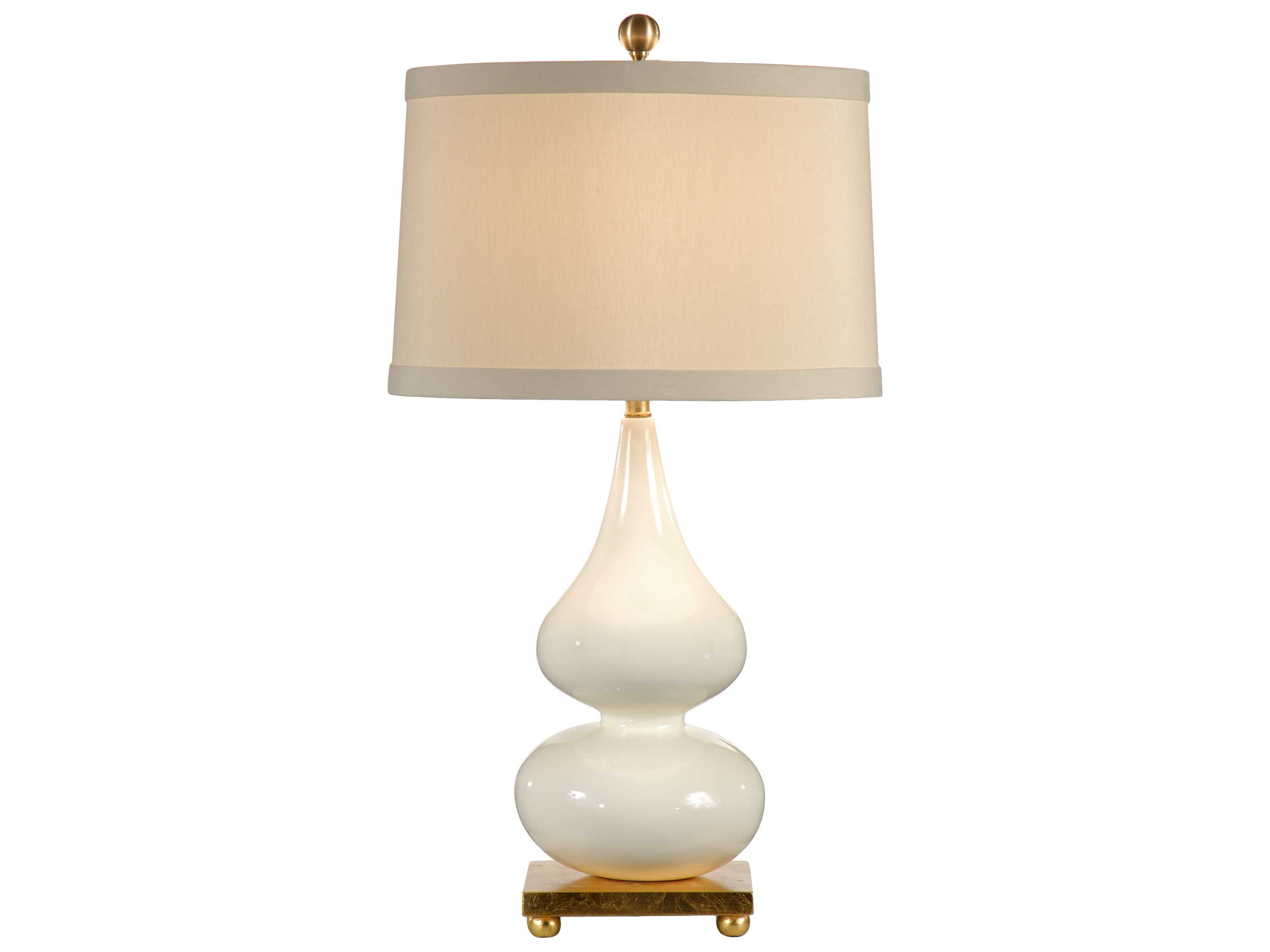 Exceptionnel Wildwood Lamps Milk Glaze On Porcelain Old Gold Leaf Pinched Vase Table Lamp  ...