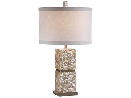 Wildwood Lamps Genuine Shell Brushed Chrome Accents Shell Inlay Column Table Lamp