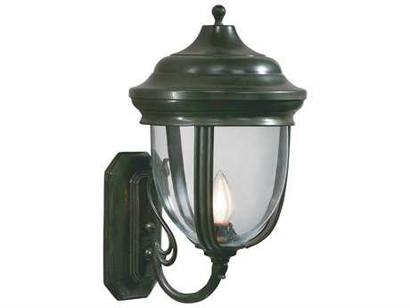 Wildwood Lamps Large Wall-Light Green On Solid Brass Large Wall Light
