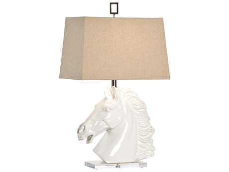 Wildwood Lamps Equus Glazed White Clay Fired Ceramic Table Lamp