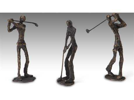 Wildwood Lamps Golfers Old Bronze Cast Brass Sculpture (Set Of Three)